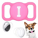 Wustentre Protective Case Compatible for Apple AirTags for Dog Cat Collar Pet Loop Holder, AirTag Holder Accessories with Screen Protectors, Air Tag Silicone Cover for Pet Collar (Luminous Pink)