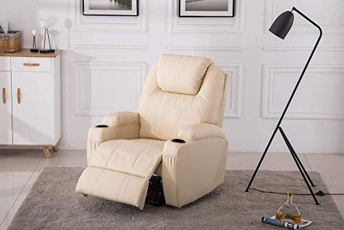 Ldoons Massaggio Elettrico Sedia Poltrona, Riscaldamento a Vibrazione reclinabile Telecomando Incluso (Bianco Crema)