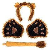FRCOLOR Löwenohren Und Schwanz Set Löwen- Set Stirnband Schwanz Und Kragen Pfoten Zubehör Halloween Kostüm für Kinder Und Erwachsene
