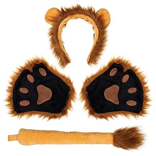FRCOLOR Juego de orejas de len y cola de len, diadema, cola, cuello, patas, accesorios, disfraz de Halloween para nios y adultos