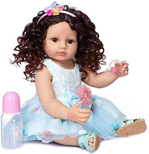 XYBHD 55 cm Reborn Baby Baby Snowdler Flexible Cuerpo Completo Silicona Silicona Real Soft Touch Pinzas Curamente Cabello Moda Muñeca Doll