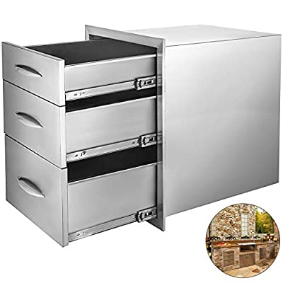 Mophorn Outdoor Kitchen Drawers Stainless Steel 14.8x21 Inch Triple Drawers with Chrome Handle BBQ Drawers for Outdoor Kitchens BBQ Island