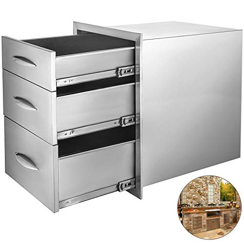 Mophorn 14x20.25 Inch Outdoor Kitchen Drawer Stainless Steel Triple Access with Chrome Handle, 14 x20.25 x 23.2 Inch