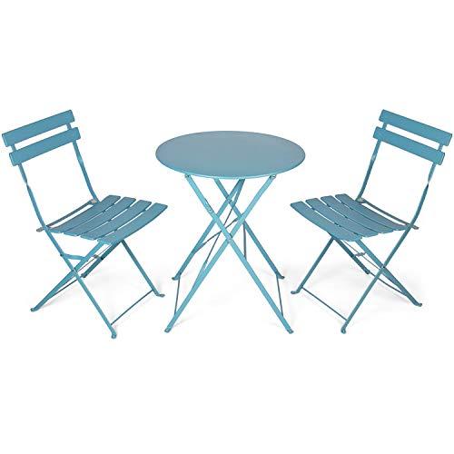 Vanage Bistro Balkon Set in grau / blau - Balkontisch und Balkonstühle sind zusammenklappbar - Gartenmöbel Set ist 3 teilig - geeignet für Garten, Terrasse und Balkon