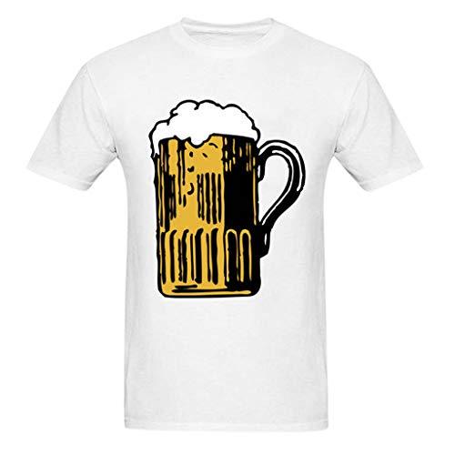 Herren Sommer Herbst T-Shirts Kurzarm V Ausschnitt Sport Tees Oktoberfest Bedruckt Polyester Baumwolle Trikot Workwear Gym Laufbekleidung Bodybuilding Polohemd Top (EU:34, Weiß + Schwarz)