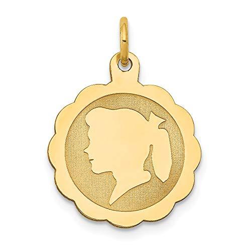 Saris and Things niña de la Cabeza 14k Oro Amarillo de 0.018 Gauge engravable Festoneado Disco Charm