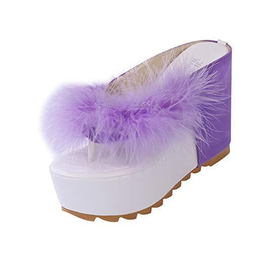 Las Mujeres Plataforma Tacones Flip Flops Verano Rhinestone Slip en Tacones Altos Clip Toe Casual Beach Zapatos T Correa Poste Thongs cuña tacón Sandalias