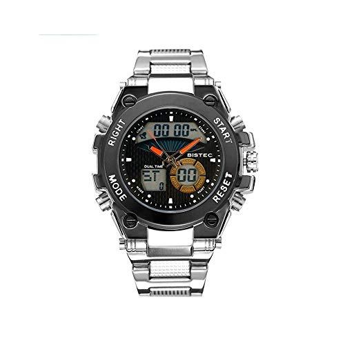 FQDQH Reloj Deportivo de Doble visualización electrónica de los Hombres, Impermeable al Aire Libre de múltiples Funciones Masculino del Reloj, dial de la Manera Reloj de Cuarzo (Color : Orange)