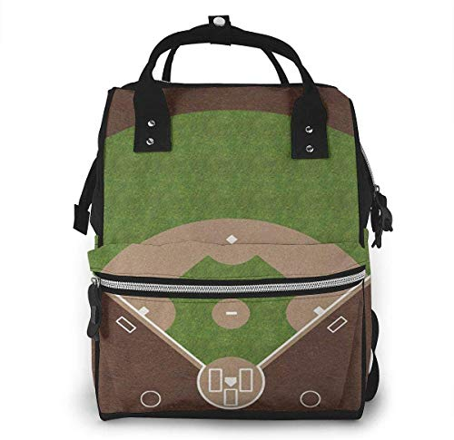 Diaper Bag Backpack Travel Bag Large Multifunction Waterproof American Baseball Field with White Markings Painted On Grass Print Stylish and Durable Nappy Bag for Baby Care School Backpack