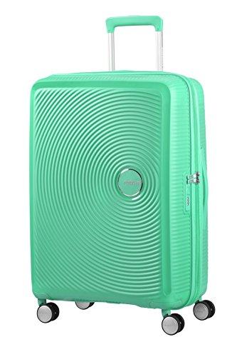 AMERICAN TOURISTER Soundbox - Spinner M Espandibile Bagaglio a Mano, Spinner M (67 cm - 81 L), Verde (Deep Mint)