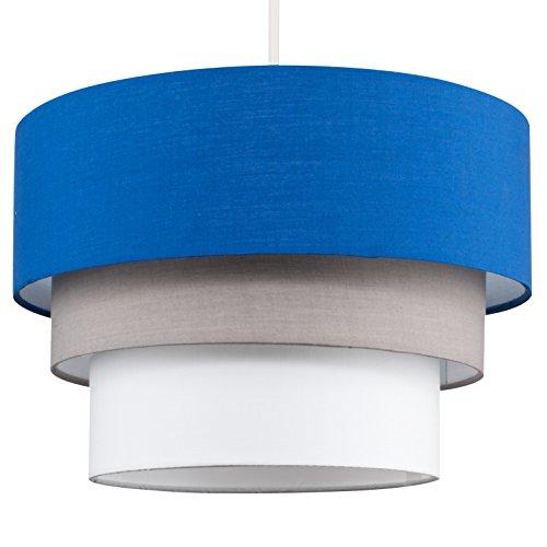 MiniSun – Paralume bellissimo, moderno e rotondo con 3 livelli di colori vari (blu scuro, grigio e bianco) – per lampada a sospensione