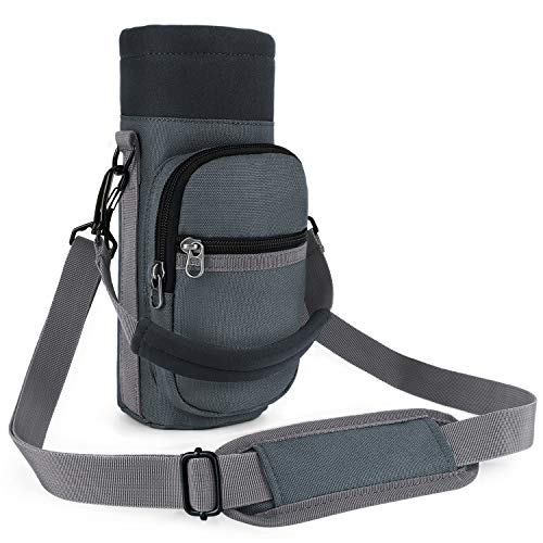 Water Bottle Carrier, Barbarians Bottle Pouch Holder with Adjustable Shoulder/Hand Strap 2 Pockets for Swell Type Bottle 16oz 17oz 20oz 24oz 25oz 32oz 40oz, Suitable for Hiking Travel Camping Gray
