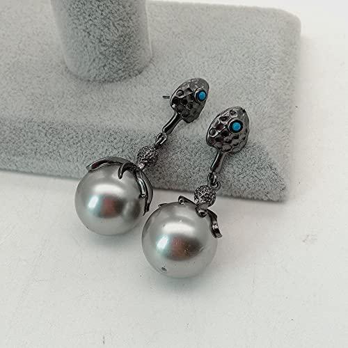 YANXIA Pendientes para Mujer Pendientes de Perla de Concha Gris de 18 Mm Pendientes de Botón de Mujer Bohemia Vintage Pendientes Largos de Borla