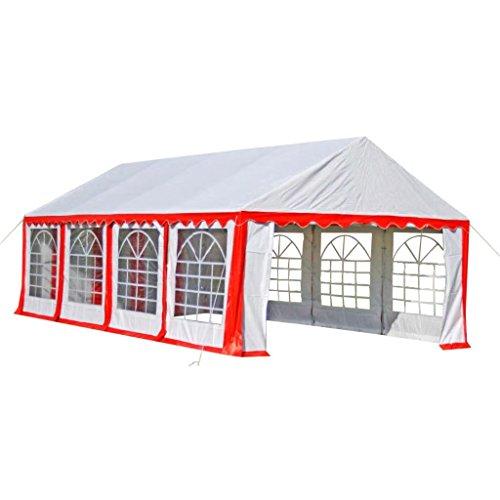 FZYHFA Feesttent Rood Groot Evenement Tent met Zonwering 8 x 4 m