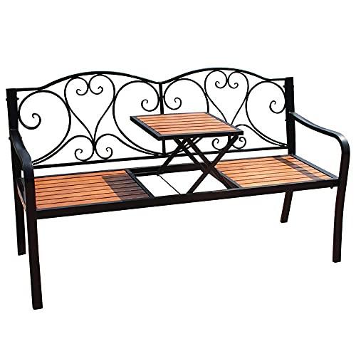 Bancos de madera maciza de hierro forjado para patio al aire libre, bancos dobles de ocio con estructura de hierro fundido, bancos de parque de jardín con mesas elevadoras, utilizados para césped / pa