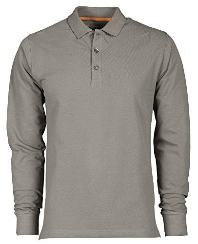 PAYPER, Polo da uomo, a maniche lunghe, 100% cotone, 3Bottoni grigio chiaro XXXXXL