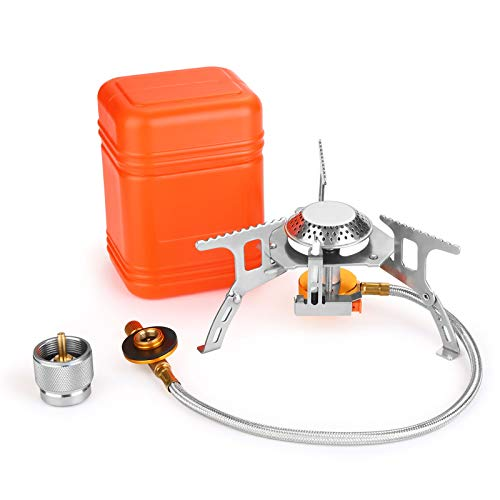 WADEO 3700W Camping Gas Stove, Portable Backpacking Stove with Piezo Ignition, Portable Burner, Camping Stove Adapter and Carrying Case for Outdoor Camping, Hiking