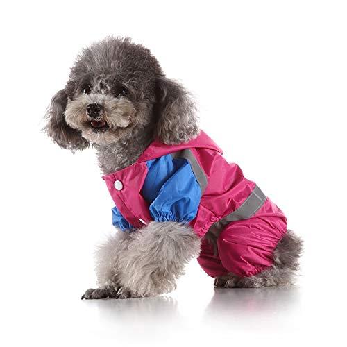 YANGFAN Ropa de Mascotas, Suministros para Mascotas Tela de Doble Capa roja Pet hidrorial de Perro Pase Impermeable Poncho de Perro no Transparente (Color : Red, Size : Small)