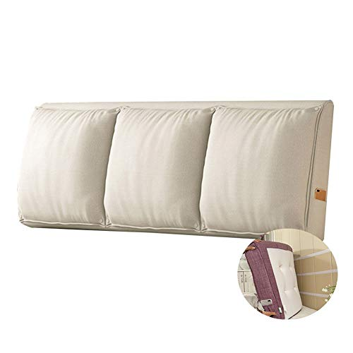 JFya Bedside Back Cushion Reading Backrest Wall Anti-Collision Pad Lumbar Support Fluffy and Full, Flax Fabric, Size Customized (Color : F, Size : 150CM)