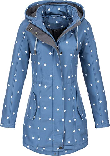 Top Fuel Fashion Damen Softshelljacke Kurzmantel Ivana Blue/White dots XXL