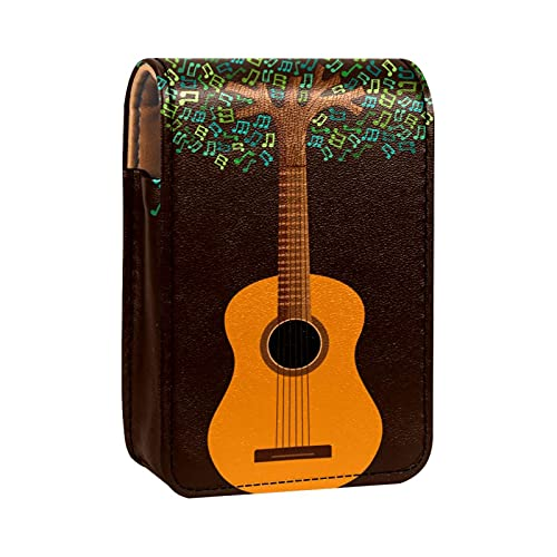 Estuche para lápiz Labial Mini Soporte para lápiz labialGuitar Tree Decorated with Musical Notes Bolsa Organizador con Espejo para Estuche Cosmético de Viaje Monedero