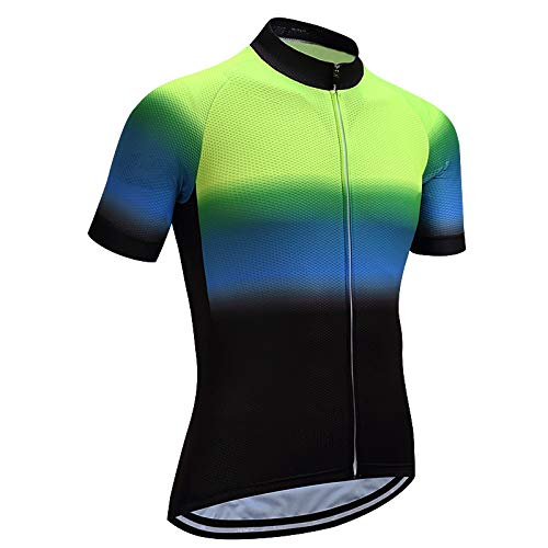 Maillot Ciclismo Hombre - Manga Corta Verde Azul Carreras Ciclo Tops Montar Ropa De Bicicleta Camisa De Verano con Maillot Seco Rápido para Ciclismo De Montaña De Carretera Y Ropa Deportiva,XL