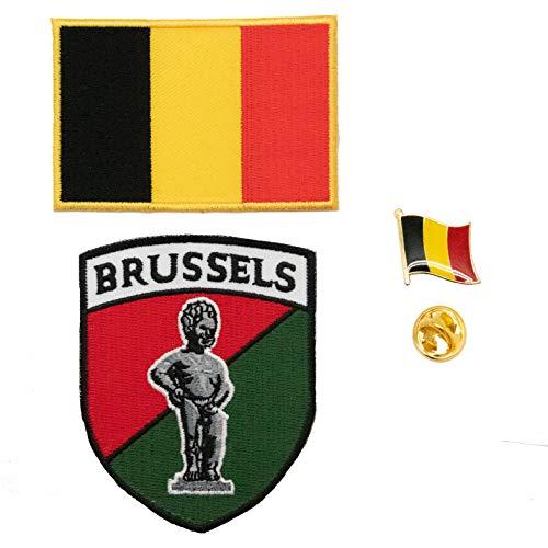 A-ONE 3 Stück – Belgien Brüssel Manneken PIS Patch + Belgische Flagge zum Aufkleben + Belgische Flagge Reversnadel Stickerei-Patch
