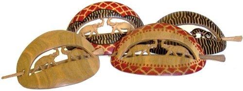Modeschmuck Bali (Indonesien) Haar-Spange aus Holz, Afrika-Style, Tiere, handgeschnitzte Haarspange, Haar-Schmuck