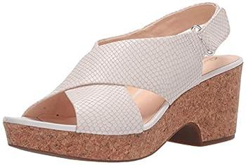 Clarks Women s Maritsa Lara Wedge Sandal White snake leather 8