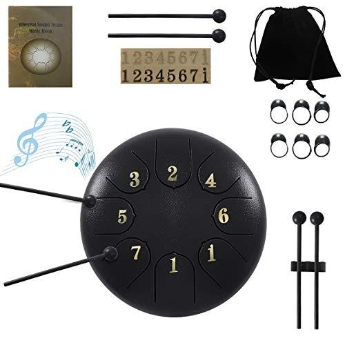 JDSUMS Stahlzungentrommel - 8 Töne 6 Zoll-Perkussionsinstrument - Zungentrommel Handtrommel mit Tasche, Schlägel, Fingerpicks, Noten Aufkleber für persönliche Meditation, Yoga, Zen (Schwarz)