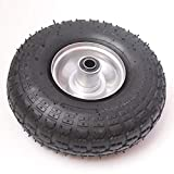A 10 Inch Pneumatic Wheel Size 4.10/3.50-4. Needle Roller Bearing to suit a 16mm Axle Shaft. Steel Rim with an Offset Hub Suitable for Sack Barrows, Trollies, Carts and Wagons