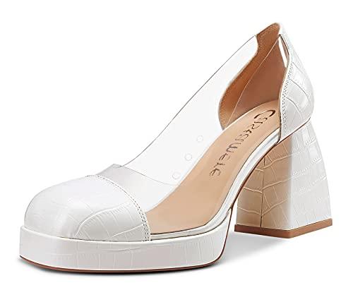CASTAMERE Zapatos de Tacón Mujer Punta Cuadrada Plataforma Ancho Tacón 8.5CM High Heels Blanco Zapatos EU 40