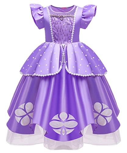 YOSICIL Disfraz Princesa Sofia para Nias, Vestido de Fiesta lentejuelas lunares con 6pcs Accesorios Ceremonia Navidad Fiesta Aniversario Cosplay Costume Cumpleaos