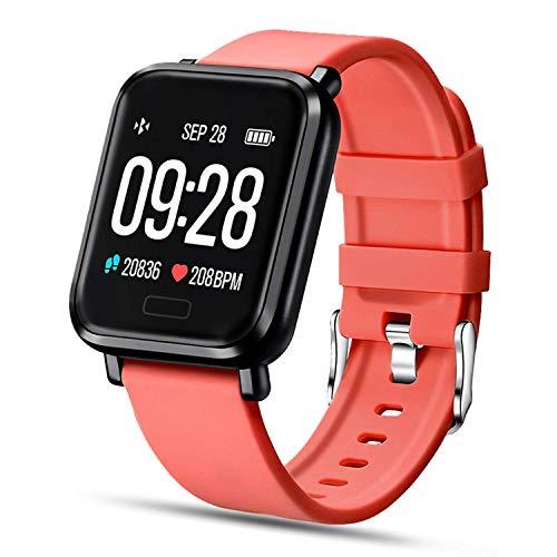Tipmant Reloj Inteligente Mujer Hombre Smartwatch Pulsera de Actividad Inteligente Impermeable IP68 Pulsómetros Podómetro Monitor de Sueño Calorías para iPhone Android Xiaomi Samsung Huawei (Rojo)