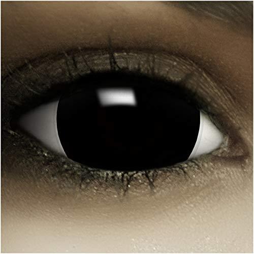 """Maxi Sclera Kontaktlinsen\""""Black\"""" + Kunstblut Kapseln + Behälter von FXContacts in schwarz, weich, ohne Stärke als 2er Pack - farbige lenses perfekt zu Halloween, Karneval, Fasching oder Fastnacht"""