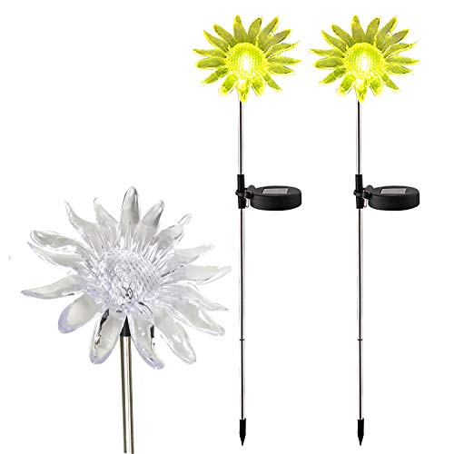 Solar Powered Landscape LED Lights - Outdoor Waterproof Color Changing Garden Decorative Figurine Statue Stake Lights for Outside Yard Lawn Flower Beds Plant Path Decor Decorations 2 Pack Sunflower