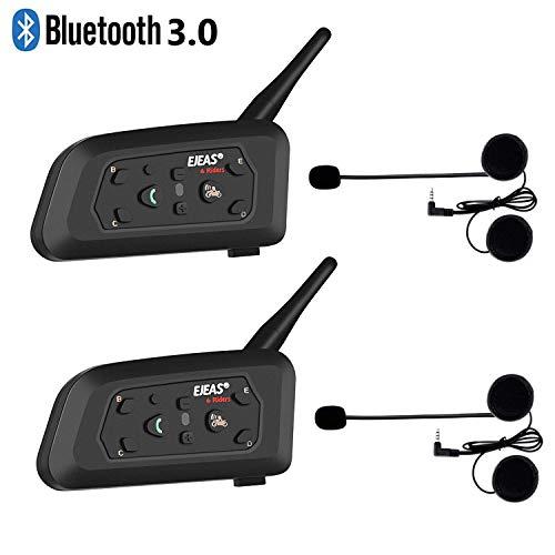 runhua 2 Piezas V6 Pro 1200 M Auriculares Intercomunicador Bluetooth Moto, Buletooth Manos Libres Moto con Control Avanzado de Ruido, Intercomunicador Casco Moto para 6 Motoristas