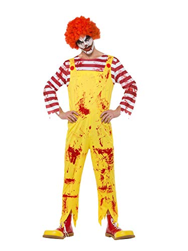 "Smiffys Kreepy Killer Clown Costume Disfraz de payaso asesino, color amarillo y rojo, L-Size 42""-44"" (40328L)"