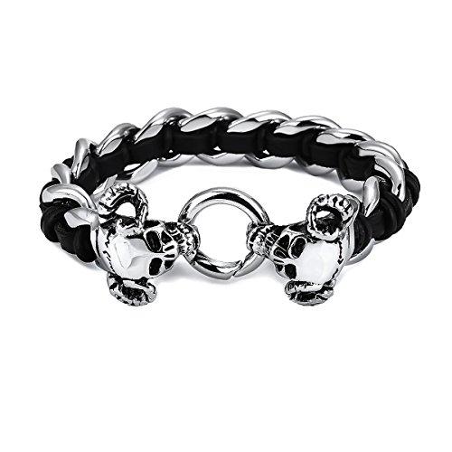 Preisvergleich Produktbild APE7® A286 Biker Edelstahl-Armband mit 2 Teufels-Schädeln Devil-Skull am Ring Leder-Umflochten Farbe Silber Poliert Gothic Punk
