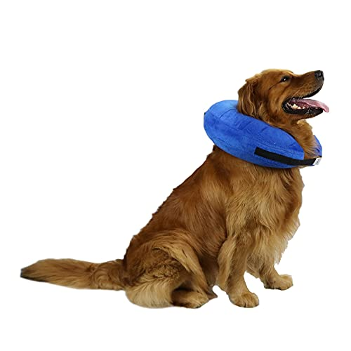 TT.WALK Collar de recuperación Inflable para Perros,Collar Protector Inflable para Perros y Gatos,Ajustable Collares y Conos de recuperación,Grande,Azul