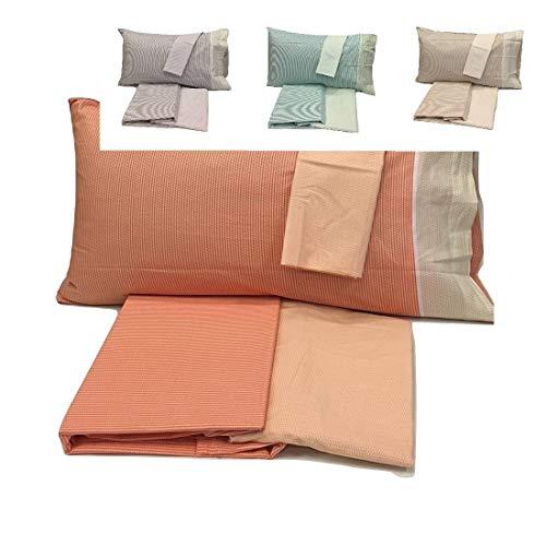 Bassetti - Sábana bajera de color naranja para cama individual (sábana encimera de 160 x 280 cm + sábana bajera de 90 x 200 cm + 2 fundas de almohada de 50 x 80 cm)