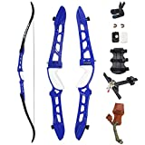 SinoArt 68' Metal Riser Takedown Recurve Bow Adult Archery Competition Athletic Bow Weights 20-36Lbs Right Handed Archery Kit (40Lbs, Blue)