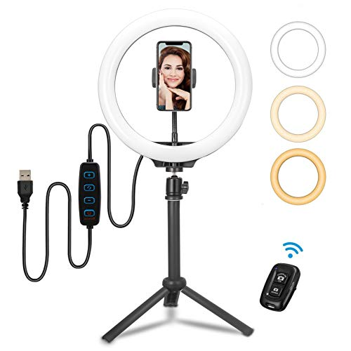 LED Ring Light - Selfie Ring Light with Tripod Stand & Cell Phone Holder for Live Stream/Makeup, Dimmable Desk Makeup Ring Light for YouTube Video/Photography Compatible for iPhone and Android …