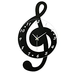Aks Yue Creative Musical Note Wooden Wall Clock Fashion Cartoon Silent Electronic Clock Children's Room Quartz Wall Clock for School Office Home Kitchen Bedroom,Black,Small