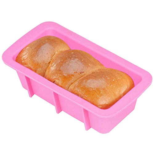 Bakeware set Rectangular Toast Bread Mold Silicone Cake Baking Utensils cookie sheet (Color : Pink)