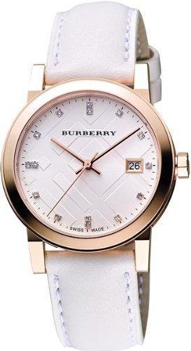 Burberry bu9130 - Reloj para mujer, correa de piel blanca