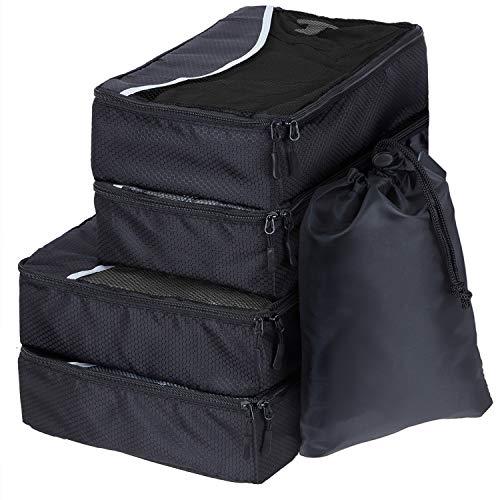 SWISSONA 5 Packwürfel im Set in 3 unterschiedlichen Größen, robust & langlebig, schwarz, Packing Cubes Verpackungswürfel, Packtaschen, Kleidertasche, Kofferorganizer