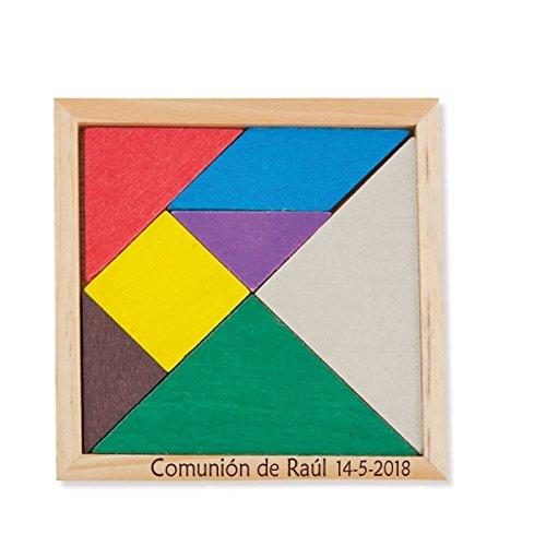 Puzzle de madera tangram para regalar en comuniones, bautizos, bodas y eventos. PERSONALIZADO grabado en la madera. Pack de 10 unidades