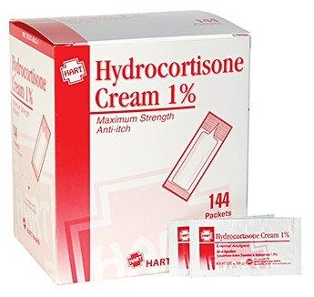HART Health Hydrocortisone Cream 1%, Maximum Strength Anti-itch, 144 Packets, 1/32 oz (0.9m) Each