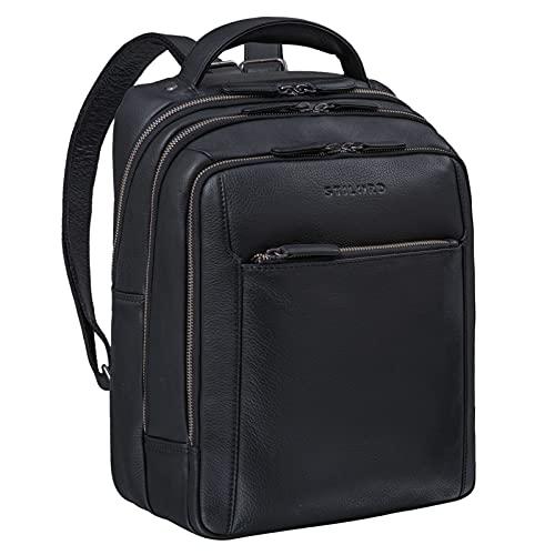 STILORD 'Kobe' Schulrucksack Leder Rucksack Groß und Breit ideal als Lehrer Rucksack Business Backpack Laptoprucksack mit vielen Fächern aus Echtem Vintage Leder, Farbe:schwarz